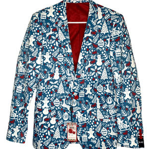 SUSLO COUTURE Holiday Slim Fit Blazer Jacket Blue Mens M